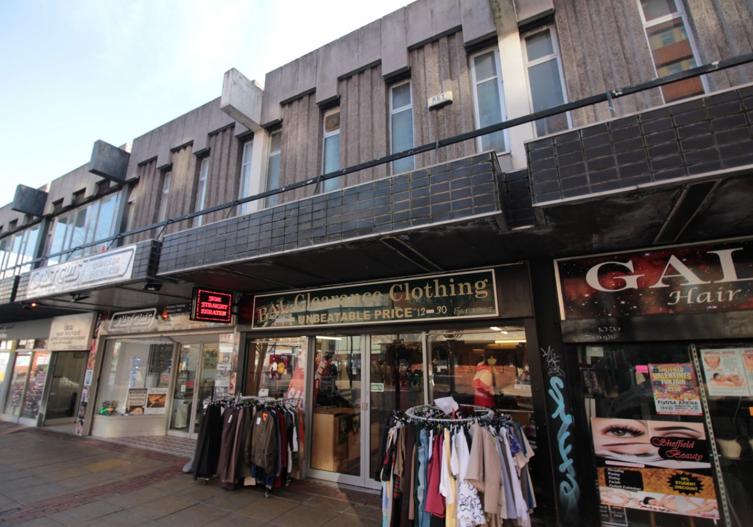 Two-storey retail sales shop in Sheffield city centre.